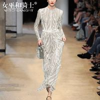 Vogue Vintage Slimming Sequined One Color It Girl 9/10 Sleeves Dress - Bonny YZOZO Boutique Store
