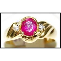 Diamond Eternity Solitaire Ruby 18K Yellow Gold Ring [RS0114]
