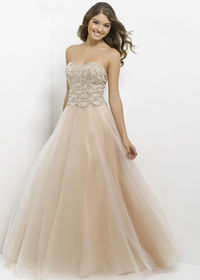 Long A line Champagne scalloped Sequin Tulle Ball Prom Gown
