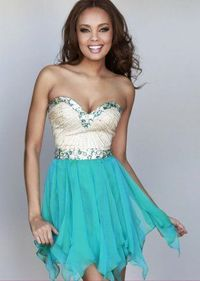 Sequined Teal Strapless Party Dress With Ruffled Chiffon Skirt 2015