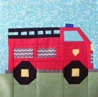 Fire Truck Baby Quilt Pattern | ... TRUCK PAPER PIECING QUILT BLOCK PATTERN PDF -102A/Patterns/Quilts