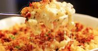 Three Cheese Macaroni with Rosemary and Thyme, topped with crumbled bacon and bread crumbs.
