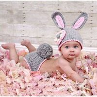 Gray Rabbit Bunny Knit Crochet Baby Costume Photo Props Toddler Birthday Outfit