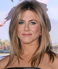Jennifer Aniston Hairstyle: Casual Medium Straight Hairstyle Casual and low-fuss is the main idea for this look. Only long and subtle layers are cut around the front and sides of this medium length mane to lighten the edge and allow texture which is great...