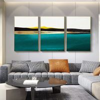 Gold leaf Set of 3 wall art framed painting teal blue Abstract mountain paintings on canvas original set 3 pieces wall art $163.53