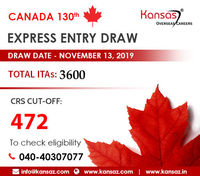 Applicants under the Federal Program submit an online profile to the Express Entry Pool in order to receive an invitation to apply for PR in Canada. Latest Canada Express Entry Draw (130th Draw) was conducted on November 13th, 2019, about 3600 app...