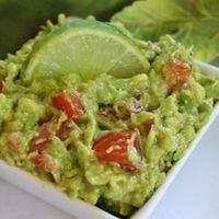**Easy Guacamole w/ tomato, onion, garlic, and lime; (I used red onion& baby tomato) Can also add 1/4 tsp cumin. Extra: Use only the juice of 1/2 a lime. Add chopped cilantro, green scallions, splash of olive oil, capful of white vinegar, Pace...