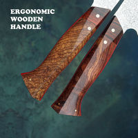 Damascus Chef Knife Hand Forged Kitchen Knives Handmade Leather scabbard Home Cooking Tools ILS729.00