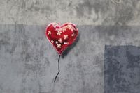 BANKSY in BROOKLYN. Heart balloon covered in bandaids...cool.
