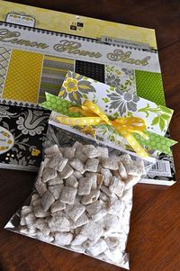 This is a cute way to wrap homemade treats - fill ziploc bag, staple on scrapbook paper, add a bow.