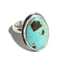 Chunky Silver Boho Turquoise Mineral Ring SIze 8 | Paradise Nevada Turquoise | Sterling Silver Gemstone Statement Jewelry $49.95