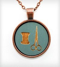 Thread & Scissors Pendant Necklace | Jewelry Necklaces | Once Again Sam | Scoutmob Shoppe | Product Detail