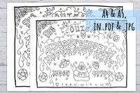 Ouija Board Colouring Page, printable in 3 sizes, funny activity