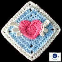 Angel Heart Granny Square - Free Crochet Pattern from