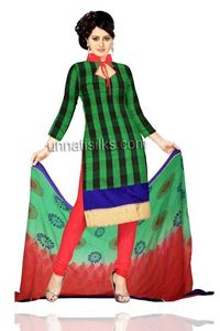 Unstitched party green and red Chanderi sico salwar kameez