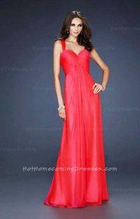 Junior A-Line Pleated Bust Chiffon Long Prom Dresses Watermelon Sale
