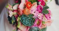 pink flowers and succulent bouquet