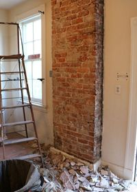 Exposing brick is one way to add character and visual interest to an otherwise plain space. It's also a fairly simple project to undertake with the right tools