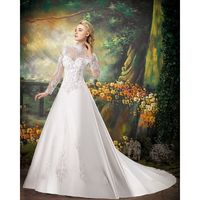 Generous A-line High Neck Long Sleeve Beading Lace Chapel Train Satin Wedding Dresses - Dressesular.com