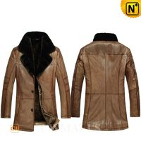 Father's Day Gifts   CWMALLS® Men Vintage Shearling Leather Coat CW857015[Custom Made, Off-site Delivery Service]