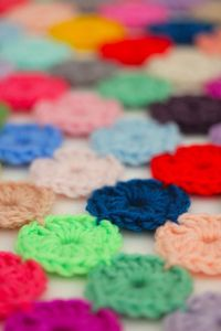 A pop of colour today! It was around this time last year that I blogged about utilising your tiny left over scraps of yarn by making yo-yo's! You'll find that p