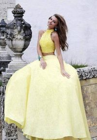 Beaded Yellow Sherri Hill 32058 Two Piece Prom Ball Dress