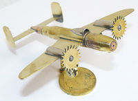 Trench Art Soviet Bomber PE2 - M82 Model Made from WW2 Shells Cartridges Toy $42.00