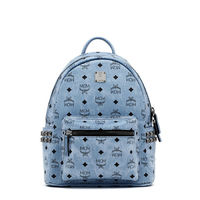 MCM Small Stark Side Odeon Studded Backpack In Washed Blue