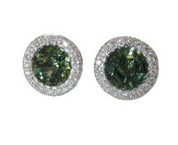 Gold Earrings Green Earrings Unique Earrings Unique Stud Earrings Halo 14K White Gold with Lab Green Sapphire F VS Diamond Valentines Gift $695.35