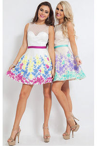 Adorable Jewel Short Satin Sweetheart,Jewel Party Dresses