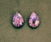 Magnetic 18 x 25 mm Purple or Pink, Mauve, and Silver Teardrop Cabochon Plastic Button Earring $30.00 Designed by LauraWilson.com