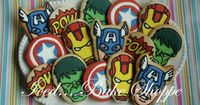 Marvel Avengers Character themed Birthday Cookies - Hand Iced Large Sugar Cookies - Thirty Custom Made. $99.95, via Etsy.