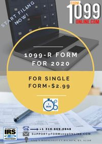 File your 1099-R form on our website form1099online.com. We provide you quick service and best features for easy Filing 1099. Register for free now. Call: 3168690948